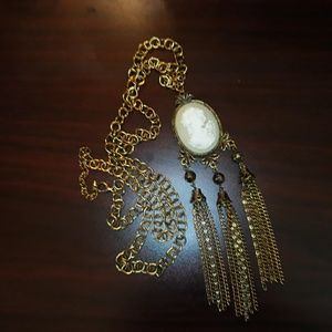 Long Statement Necklace w Cameo